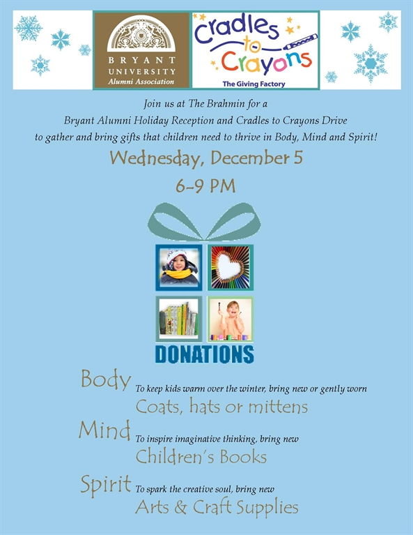 Bryant Alumni Holiday Reception and Cradles to Crayons Drive